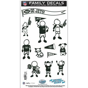 "New York Jets Family Decal Med. - Show off your team pride with our New York Jets family automotive decals. The set includes 12 individual family themed decals that each feature the team logo. The 6"" x 11"" decal set is made of outdoor rated, repositionable vinyl for durability and easy application.  Officially licensed NFL product Licensee: Siskiyou Buckle Thank you for visiting CrazedOutSports.com"