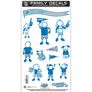 "Detroit Lions Family Decal Med. - Show off your team pride with our Detroit Lions family automotive decals. The set includes 12 individual family themed decals that each feature the team logo. The 6"" x 11"" decal set is made of outdoor rated, repositionable vinyl for durability and easy application.  Officially licensed NFL product Licensee: Siskiyou Buckle .com"