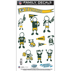 "Green Bay Packers Family Decal Med. - Show off your team pride with our Green Bay Packers family automotive decals. The set includes 12 individual family themed decals that each feature the team logo. The 6"" x 11"" decal set is made of outdoor rated, repositionable vinyl for durability and easy application.  Officially licensed NFL product Licensee: Siskiyou Buckle .com"