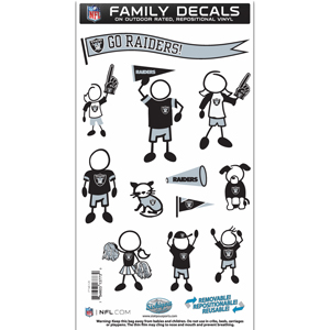 "Oakland Raiders Family Decal Med. - Show off your team pride with our Oakland Raiders family automotive decals. The set includes 12 individual family themed decals that each feature the team logo. The 6"" x 11"" decal set is made of outdoor rated, repositionable vinyl for durability and easy application.  Officially licensed NFL product Licensee: Siskiyou Buckle Thank you for visiting CrazedOutSports.com"