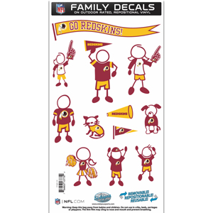 "Washington Redskins Family Decal Med. - Show off your team pride with our Washington Redskins family automotive decals. The set includes 12 individual family themed decals that each feature the team logo. The 6"" x 11"" decal set is made of outdoor rated, repositionable vinyl for durability and easy application.  Officially licensed NFL product Licensee: Siskiyou Buckle Thank you for visiting CrazedOutSports.com"