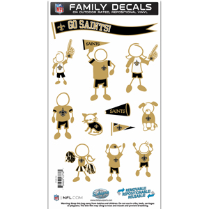 "New Orleans Saints Family Decal Med. - Show off your team pride with our New Orleans Saints family automotive decals. The set includes 12 individual family themed decals that each feature the team logo. The 6"" x 11"" decal set is made of outdoor rated, repositionable vinyl for durability and easy application.  Officially licensed NFL product Licensee: Siskiyou Buckle .com"