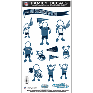 "Seattle Seahawks Family Decal Med. - Show off your team pride with our Seattle Seahawks family automotive decals. The set includes 12 individual family themed decals that each feature the team logo. The 6"" x 11"" decal set is made of outdoor rated, repositionable vinyl for durability and easy application.  Officially licensed NFL product Licensee: Siskiyou Buckle Thank you for visiting CrazedOutSports.com"