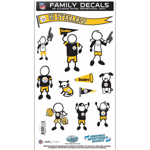 "Pittsburgh Steelers Family Decal Med. - Show off your team pride with our Pittsburgh Steelers family automotive decals. The set includes 12 individual family themed decals that each feature the team logo. The 6"" x 11"" decal set is made of outdoor rated, repositionable vinyl for durability and easy application.  Officially licensed NFL product Licensee: Siskiyou Buckle .com"