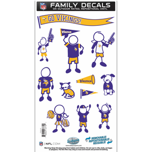 "Minnesota Vikings Family Decal Med. - Show off your team pride with our Minnesota Vikings family automotive decals. The set includes 12 individual family themed decals that each feature the team logo. The 6"" x 11"" decal set is made of outdoor rated, repositionable vinyl for durability and easy application.  Officially licensed NFL product Licensee: Siskiyou Buckle .com"
