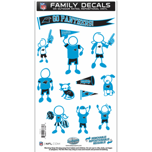 "Carolina Panthers Family Decal Med. - Show off your team pride with our Carolina Panthers family automotive decals. The set includes 12 individual family themed decals that each feature the team logo. The 6"" x 11"" decal set is made of outdoor rated, repositionable vinyl for durability and easy application.  Officially licensed NFL product Licensee: Siskiyou Buckle Thank you for visiting CrazedOutSports.com"