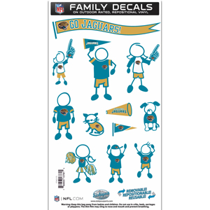 "Jacksonville Jaguars Family Decal Med. - Show off your team pride with our Jacksonville Jaguars family automotive decals. The set includes 12 individual family themed decals that each feature the team logo. The 6"" x 11"" decal set is made of outdoor rated, repositionable vinyl for durability and easy application.  Officially licensed NFL product Licensee: Siskiyou Buckle Thank you for visiting CrazedOutSports.com"