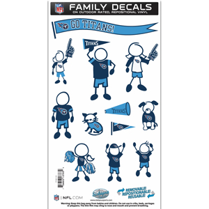"Tennessee Titans Family Decal Med. - Show off your team pride with our Tennessee Titans family automotive decals. The set includes 12 individual family themed decals that each feature the team logo. The 6"" x 11"" decal set is made of outdoor rated, repositionable vinyl for durability and easy application.  Officially licensed NFL product Licensee: Siskiyou Buckle .com"