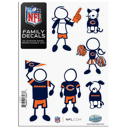 "Chicago Bears Family Decal Sm. - Show off your team pride with our Chicago Bears family automotive decals. The set includes 6 individual family themed decals that each feature the Chicago Bears team logo. The 5"" x 7"" decal set is made of outdoor rated, repositionable vinyl for durability and easy application.  Officially licensed NFL product Licensee: Siskiyou Buckle .com"