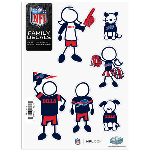 "Buffalo Bills Family Decal Sm. - Show off your team pride with our Buffalo Bills family automotive decals. The set includes 6 individual family themed decals that each feature the Buffalo Bills team logo. The 5"" x 7"" decal set is made of outdoor rated, repositionable vinyl for durability and easy application.  Officially licensed NFL product Licensee: Siskiyou Buckle .com"