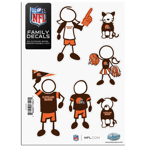 "Cleveland Browns Family Decal Sm. - Show off your team pride with our Cleveland Browns family automotive decals. The set includes 6 individual family themed decals that each feature the Cleveland Browns team logo. The 5"" x 7"" decal set is made of outdoor rated, repositionable vinyl for durability and easy application.  Officially licensed NFL product Licensee: Siskiyou Buckle .com"