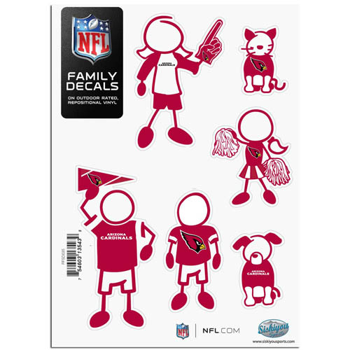 "Arizona Cardinals Family Decal Sm. - Show off your team pride with our Arizona Cardinals family automotive decals. The set includes 6 individual family themed decals that each feature the Arizona Cardinals team logo. The 5"" x 7"" decal set is made of outdoor rated, repositionable vinyl for durability and easy application.  Officially licensed NFL product Licensee: Siskiyou Buckle Thank you for visiting CrazedOutSports.com"