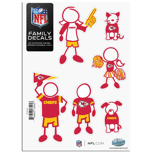 "Kansas City Chiefs Family Decal Sm. - Show off your team pride with our Kansas City Chiefs family automotive decals. The set includes 6 individual family themed decals that each feature the Kansas City Chiefs team logo. The 5"" x 7"" decal set is made of outdoor rated, repositionable vinyl for durability and easy application.  Officially licensed NFL product Licensee: Siskiyou Buckle Thank you for visiting CrazedOutSports.com"