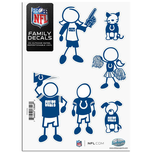"Indianapolis Colts Family Decal Sm. - Show off your team pride with our Indianapolis Colts family automotive decals. The set includes 6 individual family themed decals that each feature the Indianapolis Colts team logo. The 5"" x 7"" decal set is made of outdoor rated, repositionable vinyl for durability and easy application.  Officially licensed NFL product Licensee: Siskiyou Buckle Thank you for visiting CrazedOutSports.com"