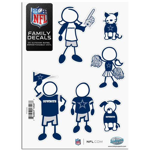 "Dallas Cowboys Family Decal Sm. - Show off your team pride with our Dallas Cowboys family automotive decals. The set includes 6 individual family themed decals that each feature the Dallas Cowboys team logo. The 5"" x 7"" decal set is made of outdoor rated, repositionable vinyl for durability and easy application.  Officially licensed NFL product Licensee: Siskiyou Buckle Thank you for visiting CrazedOutSports.com"