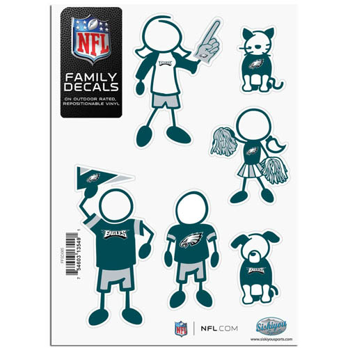 "Philadelphia Eagles Family Decal Sm. - Show off your team pride with our Philadelphia Eagles family automotive decals. The set includes 6 individual family themed decals that each feature the Philadelphia Eagles team logo. The 5"" x 7"" decal set is made of outdoor rated, repositionable vinyl for durability and easy application.  Officially licensed NFL product Licensee: Siskiyou Buckle .com"