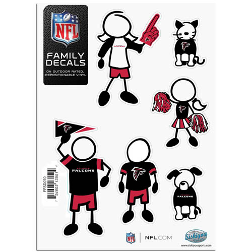 "Atlanta Falcons Family Decal Sm. - Show off your team pride with our Atlanta Falcons family automotive decals. The set includes 6 individual family themed decals that each feature the team logo. The 5"" x 7"" decal set is made of outdoor rated, repositionable vinyl for durability and easy application.  Officially licensed NFL product Licensee: Siskiyou Buckle .com"
