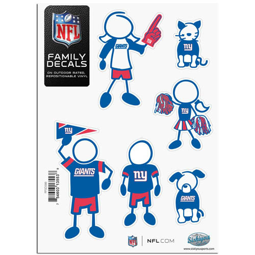 "New York Giants Family Decal Sm. - Show off your team pride with our New York Giants family automotive decals. The set includes 6 individual family themed decals that each feature the New York Giants team logo. The 5"" x 7"" decal set is made of outdoor rated, repositionable vinyl for durability and easy application.  Officially licensed NFL product Licensee: Siskiyou Buckle .com"