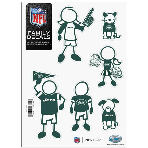 "New York Jets Family Decal Sm. - Show off your team pride with our New York Jets family automotive decals. The set includes 6 individual family themed decals that each feature the New York Jets team logo. The 5"" x 7"" decal set is made of outdoor rated, repositionable vinyl for durability and easy application.  Officially licensed NFL product Licensee: Siskiyou Buckle Thank you for visiting CrazedOutSports.com"
