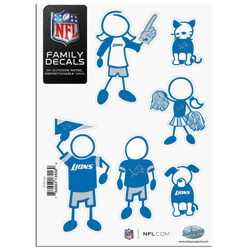 "Detroit Lions Family Decal Sm. - Show off your team pride with our Detroit Lions family automotive decals. The set includes 6 individual family themed decals that each feature the Detroit Lions team logo. The 5"" x 7"" decal set is made of outdoor rated, repositionable vinyl for durability and easy application.  Officially licensed NFL product Licensee: Siskiyou Buckle .com"