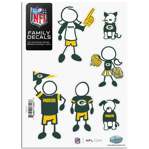 "Green Bay Packers Family Decal Sm. - Show off your team pride with our Green Bay Packers family automotive decals. The set includes 6 individual family themed decals that each feature the Green Bay Packers team logo. The 5"" x 7"" decal set is made of outdoor rated, repositionable vinyl for durability and easy application.  Officially licensed NFL product Licensee: Siskiyou Buckle Thank you for visiting CrazedOutSports.com"