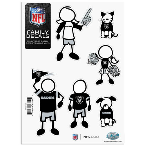 "Oakland Raiders Family Decal Sm. - Show off your team pride with our Oakland Raiders family automotive decals. The set includes 6 individual family themed decals that each feature the Oakland Raiders team logo. The 5"" x 7"" decal set is made of outdoor rated, repositionable vinyl for durability and easy application.  Officially licensed NFL product Licensee: Siskiyou Buckle Thank you for visiting CrazedOutSports.com"