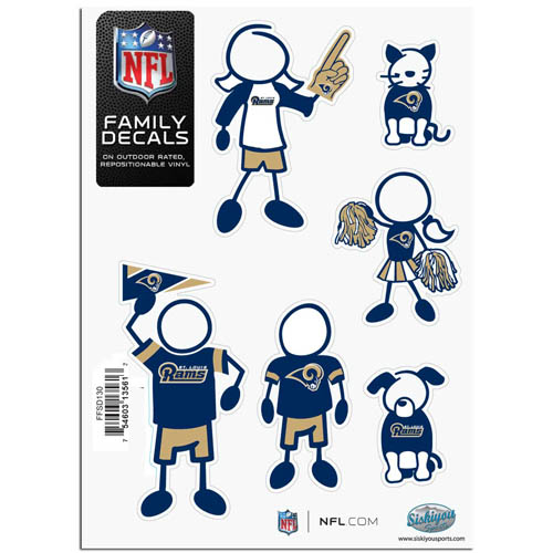 "Los Angeles Rams Family Decal Sm. - Show off your team pride with our Los Angeles Rams family automotive decals. The set includes 6 individual family themed decals that each feature the Los Angeles Rams team logo. The 5"" x 7"" decal set is made of outdoor rated, repositionable vinyl for durability and easy application.  Officially licensed NFL product Licensee: Siskiyou Buckle .com"