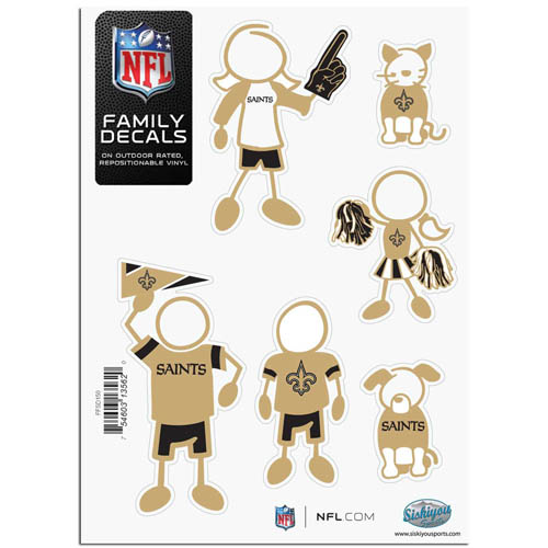 "New Orleans Saints Family Decal Sm. - Show off your team pride with our New Orleans Saints family automotive decals. The set includes 6 individual family themed decals that each feature the New Orleans Saints team logo. The 5"" x 7"" decal set is made of outdoor rated, repositionable vinyl for durability and easy application.  Officially licensed NFL product Licensee: Siskiyou Buckle Thank you for visiting CrazedOutSports.com"