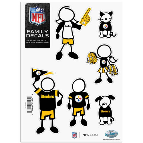 "Steelers Family Decal Sm. - Show off your team pride with our Pittsburgh Steelers family automotive decals. The set includes 6 individual family themed decals that each feature the team logo. The 5"" x 7"" decal set is made of outdoor rated, repositionable vinyl for durability and easy application.  Officially licensed NFL product Licensee: Siskiyou Buckle .com"
