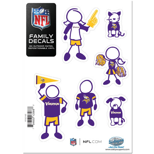 "Vikings Family Decal Sm. - Show off your team pride with our Minnesota Vikings family automotive decals. The set includes 6 individual family themed decals that each feature the team logo. The 5"" x 7"" decal set is made of outdoor rated, repositionable vinyl for durability and easy application.  Officially licensed NFL product Licensee: Siskiyou Buckle .com"