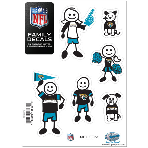 "Jaguars Family Decal Sm. - Show off your team pride with our Jacksonville Jaguars family automotive decals. The set includes 6 individual family themed decals that each feature the team logo. The 5"" x 7"" decal set is made of outdoor rated, repositionable vinyl for durability and easy application.  Officially licensed NFL product Licensee: Siskiyou Buckle Thank you for visiting CrazedOutSports.com"