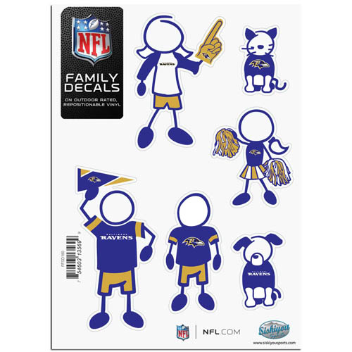 "Baltimore Ravens Family Decal Sm. - Show off your team pride with our Baltimore Ravens family automotive decals. The set includes 6 individual family themed decals that each feature the Baltimore Ravens team logo. The 5"" x 7"" decal set is made of outdoor rated, repositionable vinyl for durability and easy application.  Officially licensed NFL product Licensee: Siskiyou Buckle .com"