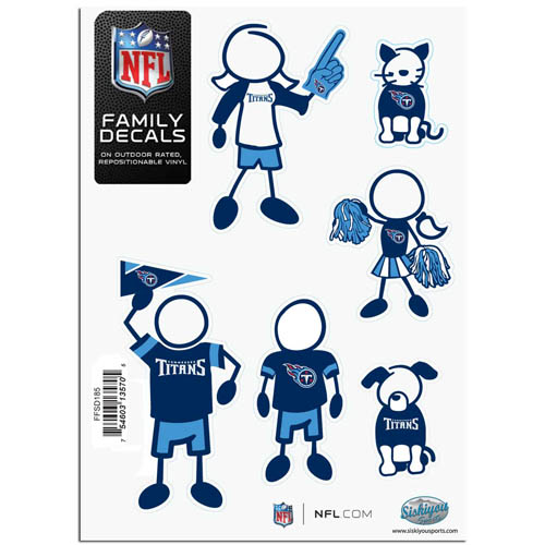 "Tennessee Titans Family Decal Sm. - Show off your team pride with our Tennessee Titans family automotive decals. The set includes 6 individual family themed decals that each feature the Tennessee Titans team logo. The 5"" x 7"" decal set is made of outdoor rated, repositionable vinyl for durability and easy application.  Officially licensed NFL product Licensee: Siskiyou Buckle .com"