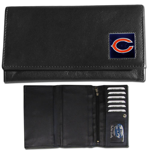 Women's NFL Leather Wallet - Chicago Bears - This genuine leather women's pocketbook features 9 credit card slots, a windowed ID slot, spacious front pocket, inner pocket and zippered coin pocket. The front of the pocketbook has a hand painted metal square with the team's primary logo. Officially licensed NFL product Licensee: Siskiyou Buckle .com