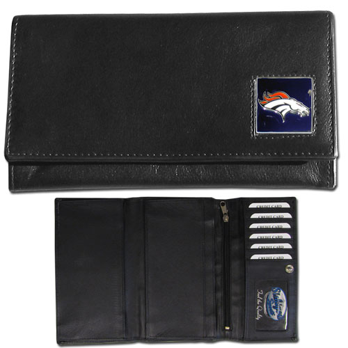 Women's NFL Leather Wallet - Denver Broncos - This genuine leather women's pocketbook features 9 credit card slots, a windowed ID slot, spacious front pocket, inner pocket and zippered coin pocket. The front of the pocketbook has a hand painted metal square with the team's primary logo. Officially licensed NFL product Licensee: Siskiyou Buckle Thank you for visiting CrazedOutSports.com