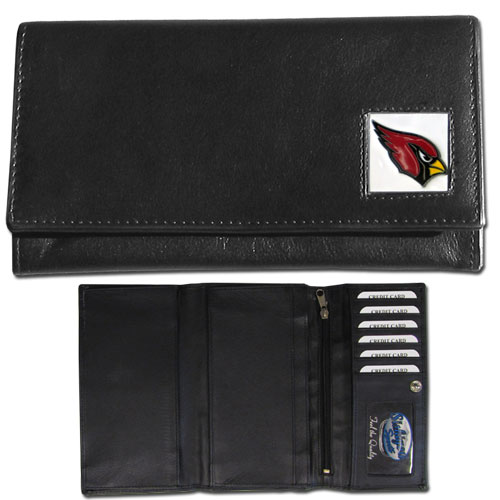 Women's NFL Leather Wallet - Arizona Cardinals - This genuine leather women's pocketbook features 9 credit card slots, a windowed ID slot, spacious front pocket, inner pocket and zippered coin pocket. The front of the pocketbook has a hand painted metal square with the team's primary logo. Officially licensed NFL product Licensee: Siskiyou Buckle .com