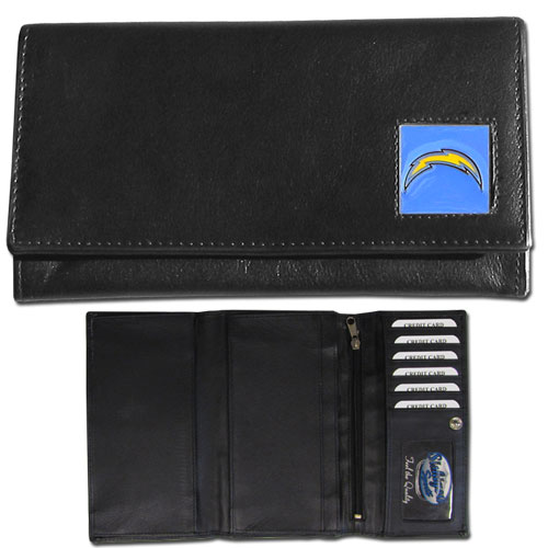 Women's NFL Leather Wallet - Los Angeles Chargers  - This genuine leather women's pocketbook features 9 credit card slots, a windowed ID slot, spacious front pocket, inner pocket and zippered coin pocket. The front of the pocketbook has a hand painted metal square with the Los Angeles Chargers logo. Officially licensed NFL product Licensee: Siskiyou Buckle .com