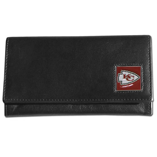 Women's NFL Leather Wallet - Kansas City Chiefs - This genuine leather women's pocketbook features 9 credit card slots, a windowed ID slot, spacious front pocket, inner pocket and zippered coin pocket. The front of the pocketbook has a hand painted metal square with the team's primary logo. Officially licensed NFL product Licensee: Siskiyou Buckle Thank you for visiting CrazedOutSports.com