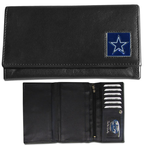 Women's NFL Leather Wallet - Dallas Cowboys - This genuine leather women's pocketbook features 9 credit card slots, a windowed ID slot, spacious front pocket, inner pocket and zippered coin pocket. The front of the pocketbook has a hand painted metal square with the team's primary logo. Officially licensed NFL product Licensee: Siskiyou Buckle Thank you for visiting CrazedOutSports.com