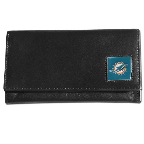 Women's NFL Leather Wallet -  Miami Dolphins - This genuine leather women's pocketbook features 9 credit card slots, a windowed ID slot, spacious front pocket, inner pocket and zippered coin pocket. The front of the pocketbook has a hand painted metal square with the team's primary logo. Officially licensed NFL product Licensee: Siskiyou Buckle .com