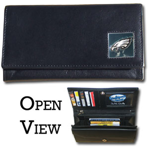Women's NFL Leather Wallet - Philadelphia Eagles - This genuine leather women's pocketbook features 9 credit card slots, a windowed ID slot, spacious front pocket, inner pocket and zippered coin pocket. The front of the pocketbook has a hand painted metal square with the team's primary logo. Officially licensed NFL product Licensee: Siskiyou Buckle .com