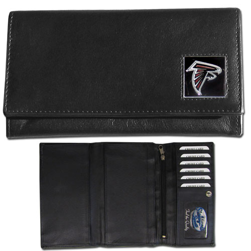 Women's NFL Leather Wallet - Atlanta Falcons - This genuine leather women's pocketbook features 9 credit card slots, a windowed ID slot, spacious front pocket, inner pocket and zippered coin pocket. The front of the pocketbook has a hand painted metal square with the team's primary logo. Officially licensed NFL product Licensee: Siskiyou Buckle .com