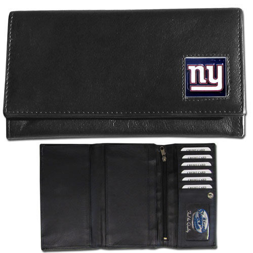 Women's NFL Leather Wallet - New York Giants - This genuine leather women's pocketbook features 9 credit card slots, a windowed ID slot, spacious front pocket, inner pocket and zippered coin pocket. The front of the pocketbook has a hand painted metal square with the team's primary logo. Officially licensed NFL product Licensee: Siskiyou Buckle Thank you for visiting CrazedOutSports.com