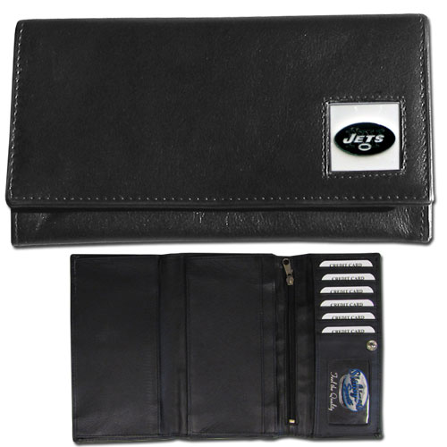 Women's NFL Leather Wallet - New York Jets - This genuine leather women's pocketbook features 9 credit card slots, a windowed ID slot, spacious front pocket, inner pocket and zippered coin pocket. The front of the pocketbook has a hand painted metal square with the team's primary logo. Officially licensed NFL product Licensee: Siskiyou Buckle Thank you for visiting CrazedOutSports.com