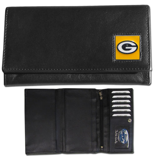 Women's NFL Leather Wallet - Green Bay Packers - This genuine leather women's pocketbook features 9 credit card slots, a windowed ID slot, spacious front pocket, inner pocket and zippered coin pocket. The front of the pocketbook has a hand painted metal square with the team's primary logo. Officially licensed NFL product Licensee: Siskiyou Buckle Thank you for visiting CrazedOutSports.com