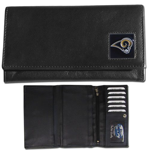 Women's NFL Leather Wallet - St. Louis Rams - This genuine leather women's pocketbook features 9 credit card slots, a windowed ID slot, spacious front pocket, inner pocket and zippered coin pocket. The front of the pocketbook has a hand painted metal square with the team's primary logo. Officially licensed NFL product Licensee: Siskiyou Buckle .com