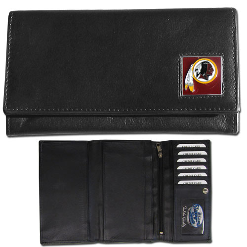 Women's NFL Leather Wallet - Washington Redskins - This genuine leather women's pocketbook features 9 credit card slots, a windowed ID slot, spacious front pocket, inner pocket and zippered coin pocket. The front of the pocketbook has a hand painted metal square with the team's primary logo. Officially licensed NFL product Licensee: Siskiyou Buckle Thank you for visiting CrazedOutSports.com