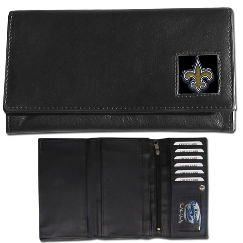 Women's NFL Leather Wallet - New Orleans Saints - This genuine leather women's pocketbook features 9 credit card slots, a windowed ID slot, spacious front pocket, inner pocket and zippered coin pocket. The front of the pocketbook has a hand painted metal square with the team's primary logo. Officially licensed NFL product Licensee: Siskiyou Buckle .com