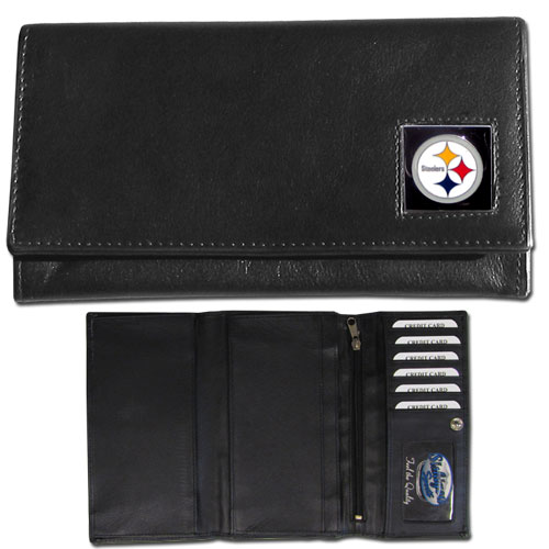 Women's NFL Leather Wallet - Pittsburgh Steelers - This genuine leather women's pocketbook features 9 credit card slots, a windowed ID slot, spacious front pocket, inner pocket and zippered coin pocket. The front of the pocketbook has a hand painted metal square with the team's primary logo. Officially licensed NFL product Licensee: Siskiyou Buckle .com