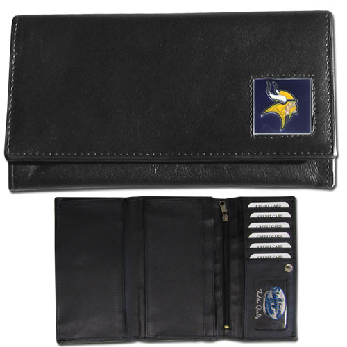 Women's NFL Leather Wallet - Minnesota Vikings - This genuine leather women's pocketbook features 9 credit card slots, a windowed ID slot, spacious front pocket, inner pocket and zippered coin pocket. The front of the pocketbook has a hand painted metal square with the team's primary logo. Officially licensed NFL product Licensee: Siskiyou Buckle .com